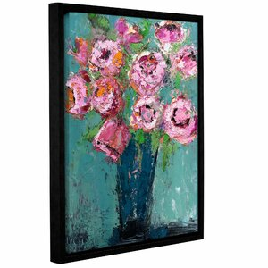'Peonies' by Michelle Rivera Framed Painting Print on Wrapped Canvas by ArtWall