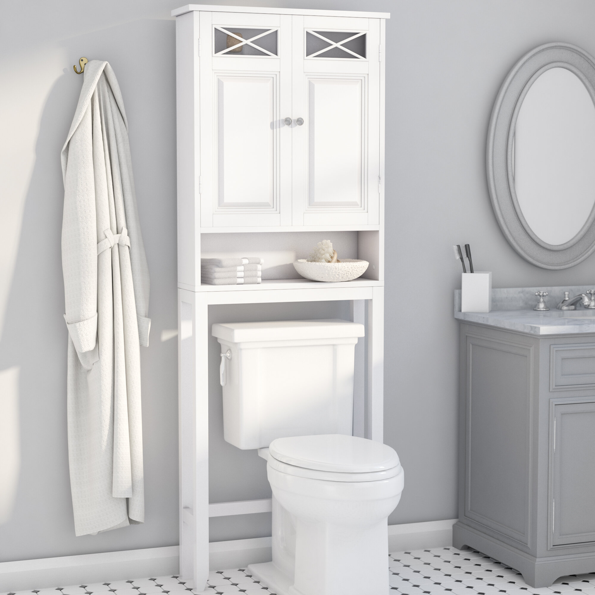 darby home co coddington 25 w x 68 h over the toilet storage reviews wayfair. Black Bedroom Furniture Sets. Home Design Ideas