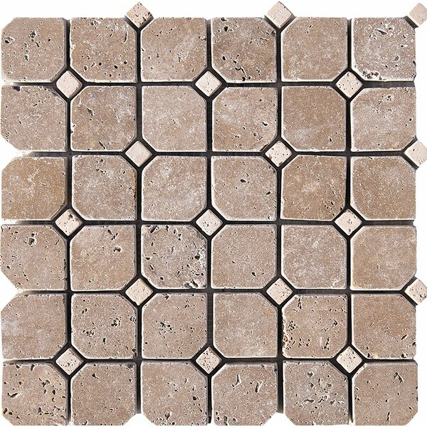 Tumbled Inserted 2 x 2 Stone Mosaic Tile in Tumbled Ivory/Noce by Parvatile