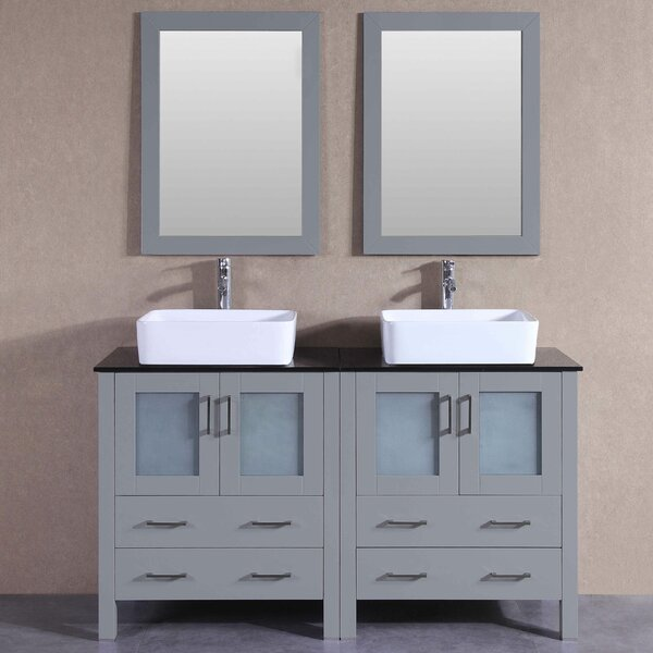 Tiffany 59 Double Bathroom Vanity Set with Mirror by Bosconi