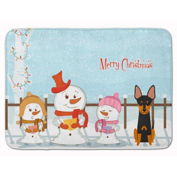 Merry Christmas English Toy Terrier Memory Foam Bath Rug