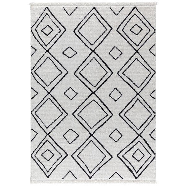 Crivello White/Charcoal Area Rug by Brayden Studio
