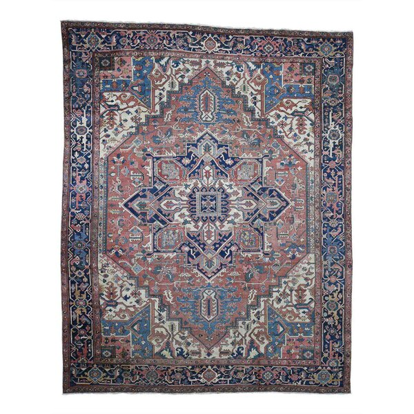 One-of-a-Kind Kelford Hand-Knotted Red/Blue/Ivory 10'1 x 12'8 Wool Area Rug
