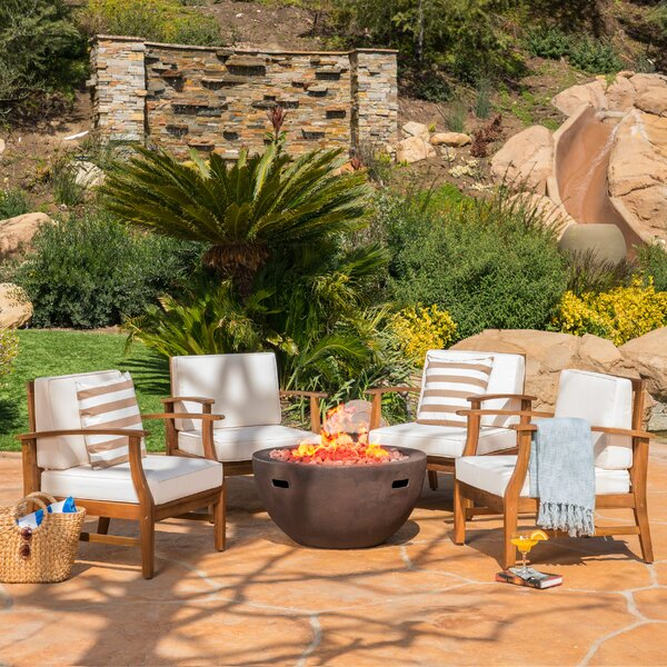 Audrick 5 Piece Multiple Chairs Seating Group with Cushions by Highland Dunes
