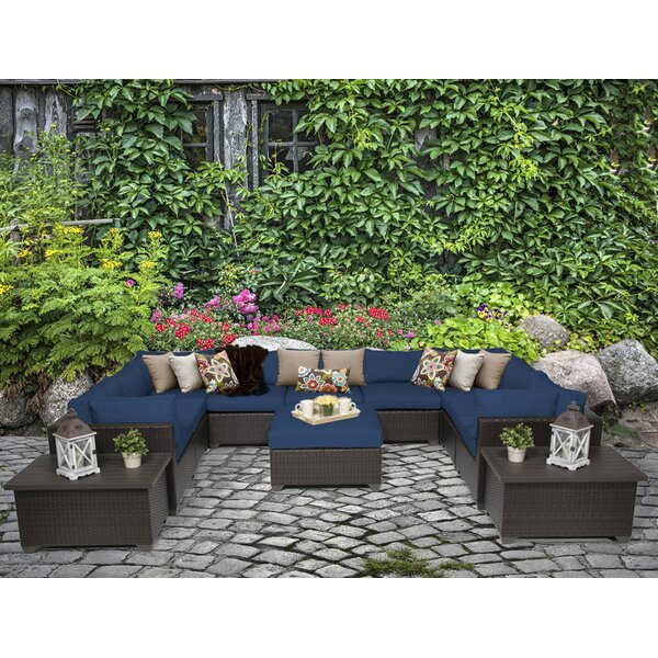 Belle 12 Piece Rattan Sectional Seating Group with Cushions by TK Classics