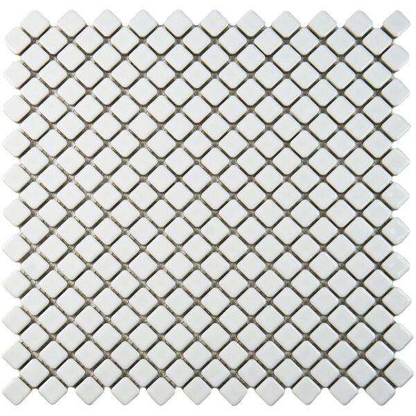 Gem 0.71 x 0.71 Porcelain Mosaic Tile in Glossy White by EliteTile