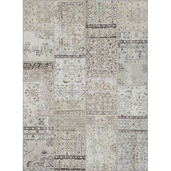 Catharine Antique Patchwork Hand-Knotted Cream Area Rug by Bloomsbury Market