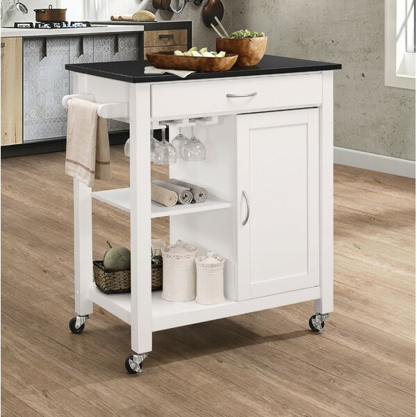 Rodrigues Kitchen Cart with Solid Wood Top by Charlton Home