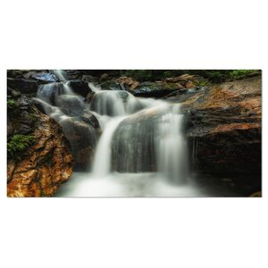 Slow Motion Waterfall on Rocks Photographic Print on Wrapped Canvas by Design Art