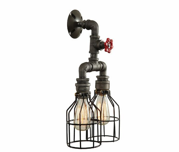2light industrial wall sconce