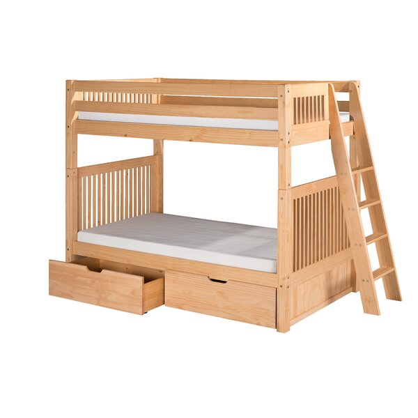 Oakwood Twin Wood Bunk Bed with Trundle by Harriet Bee