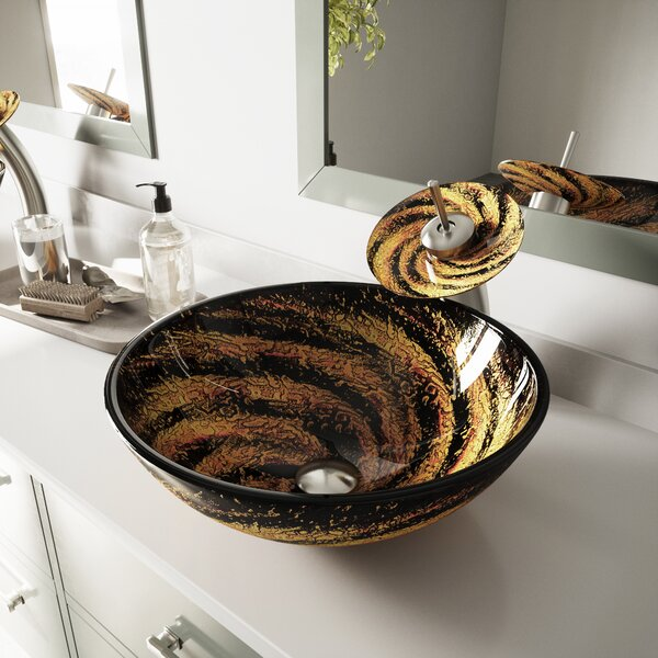 Northern Lights Glass Circular Vessel Bathroom Sink with Faucet by VIGO