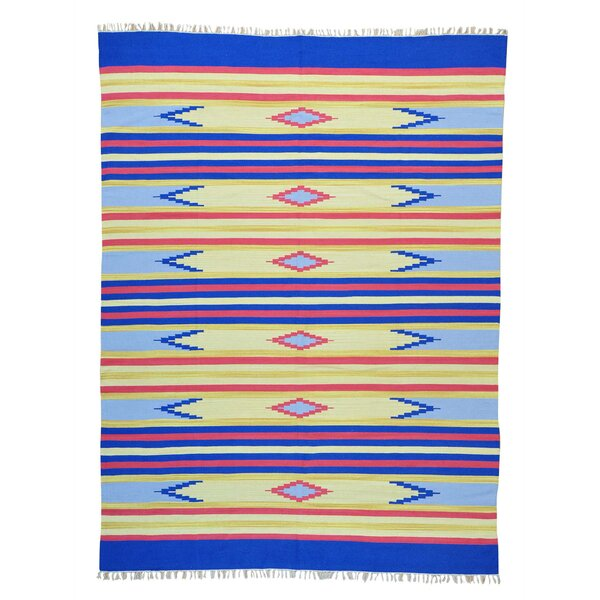 One-of-a-Kind Toman Flat Weave Southwestern Killim Hand-Knotted Cotton Blue/Yellow Area Rug by Millwood Pines