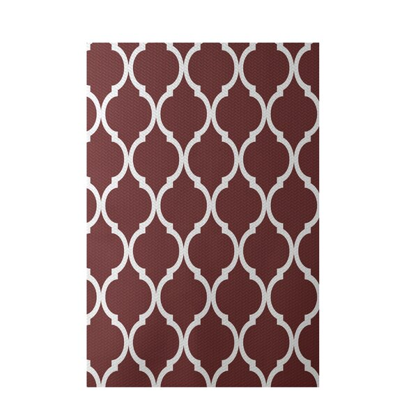 French Quarter Geometric Print Mahogany Indoor/Outdoor Area Rug by e by design
