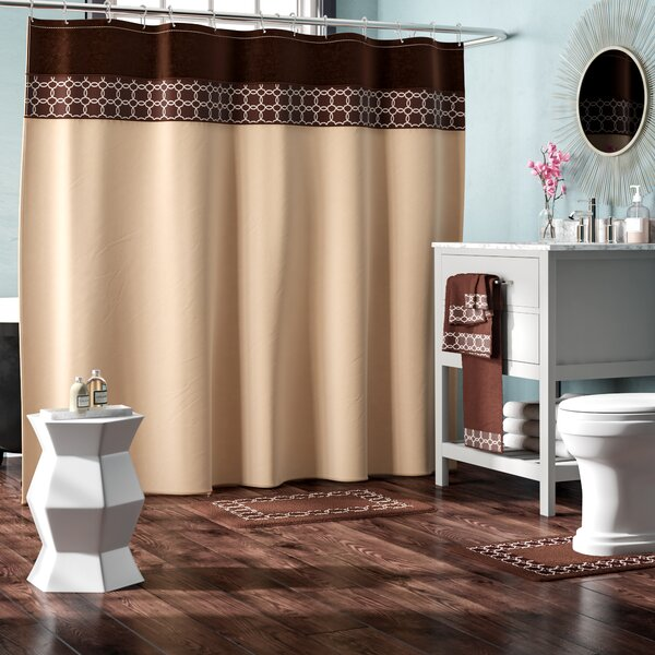 Austyn 18 Piece Embroidery Shower Curtain Set by W