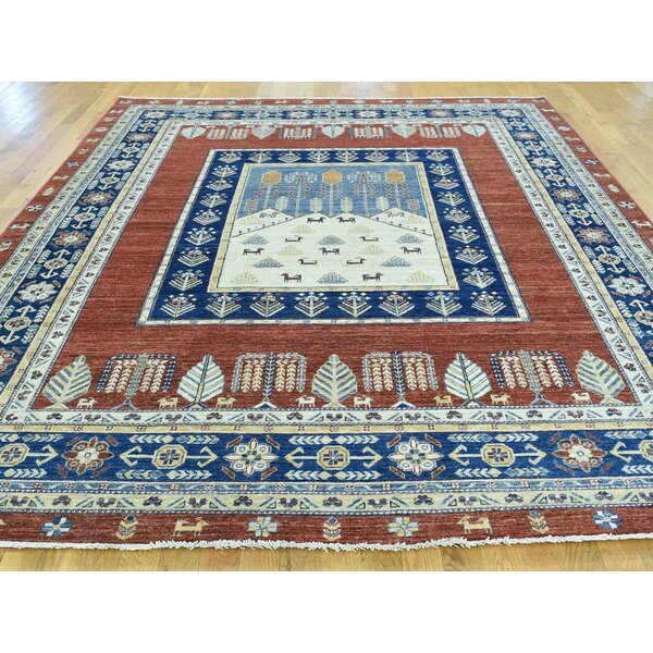 One-of-a-Kind Beaumont Pictorial Tree Design Hand-Knotted Red Wool Area Rug by Isabelline