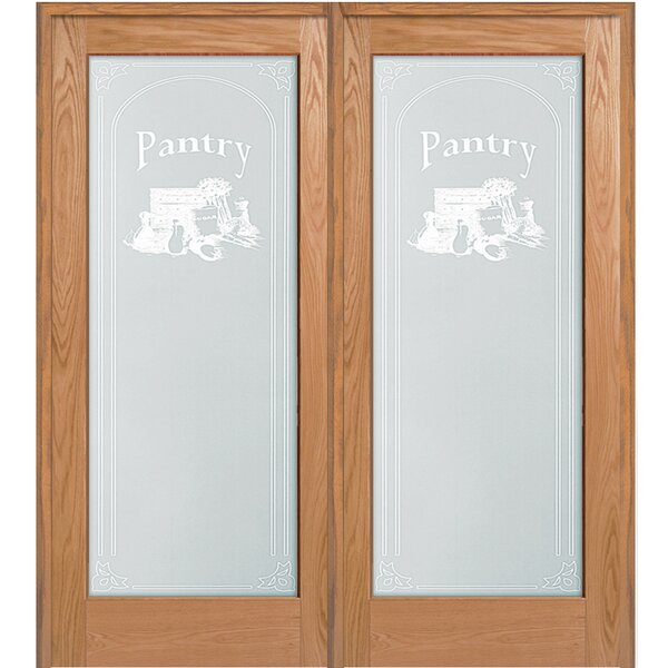 Pantry Wood 2-Panel Red Oak Interior French Door by Verona Home Design