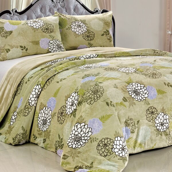 Double Flannel 3 Piece Blossom Flowers Blanket Set by BOON Throw & Blanket