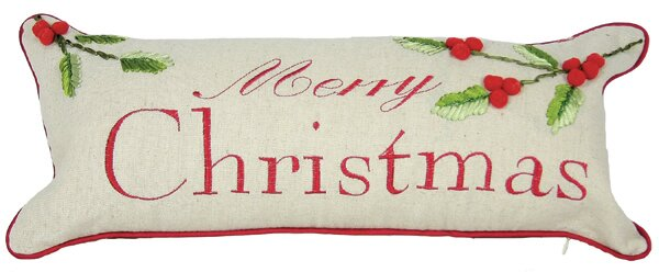 Holiday Christmas with Holly Bolster Pillow by Xia Home Fashions