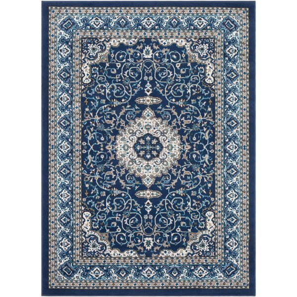 Kent Traditional Navy/Sky Blue Area Rug by Charlton Home