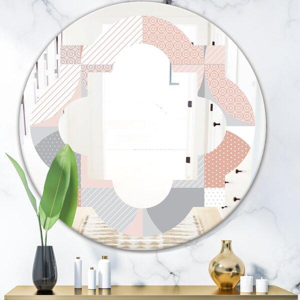 Geometric Textured Pattern Quatrefoil Modern & Contemporary Frameless Wall Mirror