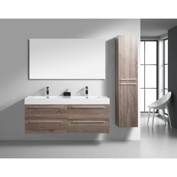 Aiydan 60 Wall-Mounted Double Bathroom Vanity Set