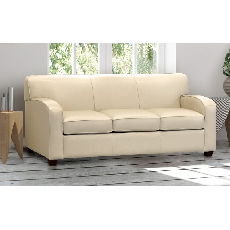 Cream Top Grain Leather Sofa Bed