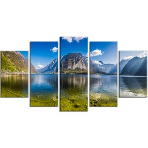 'Crystal Clear Mountain Lake in Alps' 5 Piece Photographic Print on Wrapped Canvas Set by Design Art