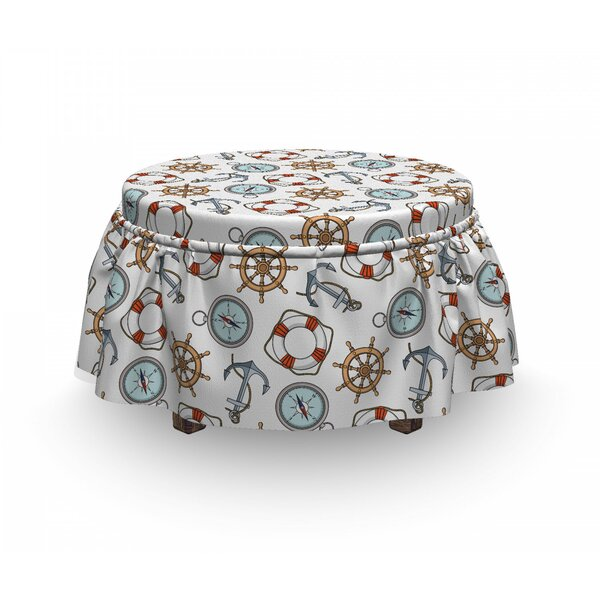Compass Helm Life Buoy Anchor 2 Piece Box Cushion Ottoman Slipcover Set By East Urban Home