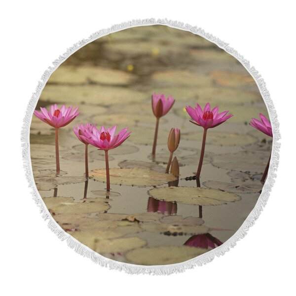 Tolley Lotus Round Beach Towel by Latitude Run