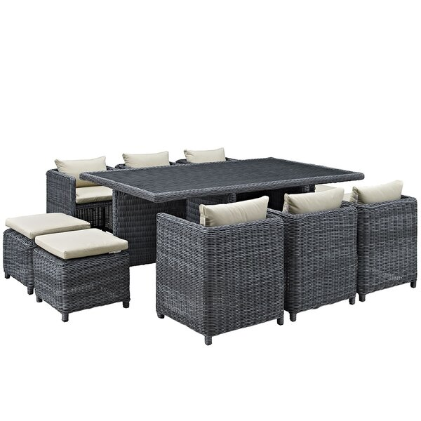 Keiran 11 Piece Outdoor Patio Dining Set with Cushion by Brayden Studio