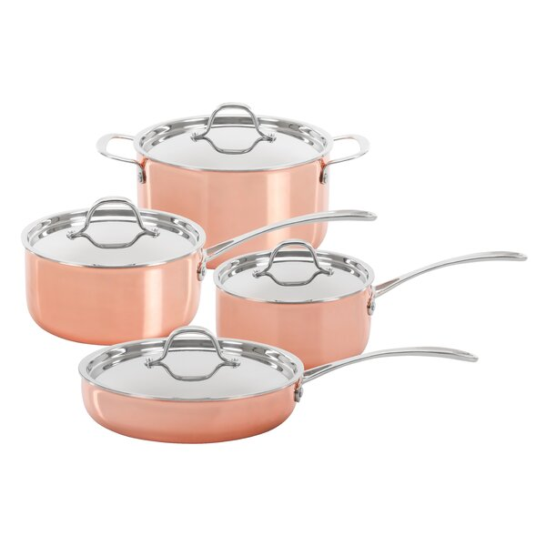 Concord 8 Piece Triply Natural Copper Premium Cookware Set by Concord Cookware