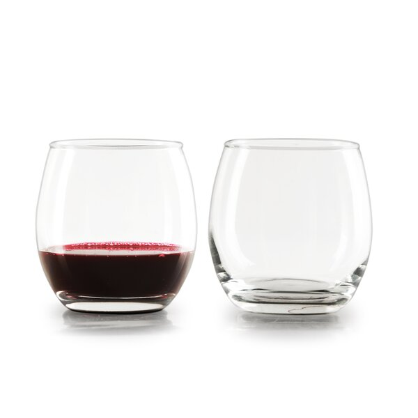 Diller Glass 12 oz. Stemless Wine Glass (Set of 4) by Ebern Designs