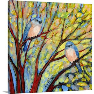 'Two Bluebirds' by Jennifer Lommers Painting Print on Canvas by Canvas On Demand