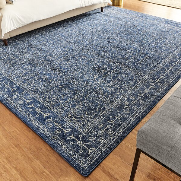Utterback Dark Blue Area Rug by Mercury Row