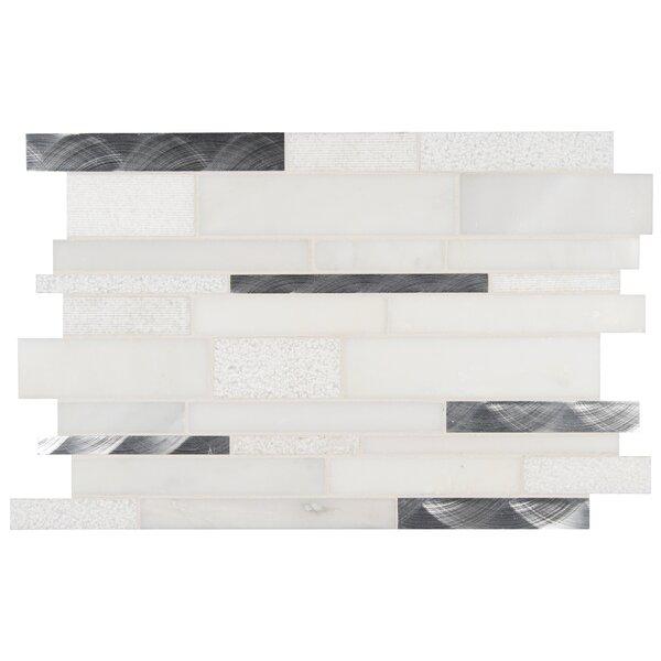 Moderno Blanco Interlocking Stone/Metal Mosaic Tile in White by MSI
