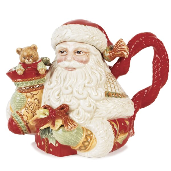 Damask Holiday Santa Teapot By Fitz And Floyd.