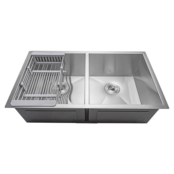 33 x 22 Undermount Stainless Steel Double Bowl 50/50 Kitchen Sink w/ Adjustable Tray and Drain Strainer Kit by AKDY