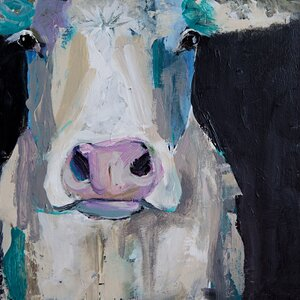 'Cow Close Up' by Cathy Walters Painting Print on Canvas by GreenBox Art