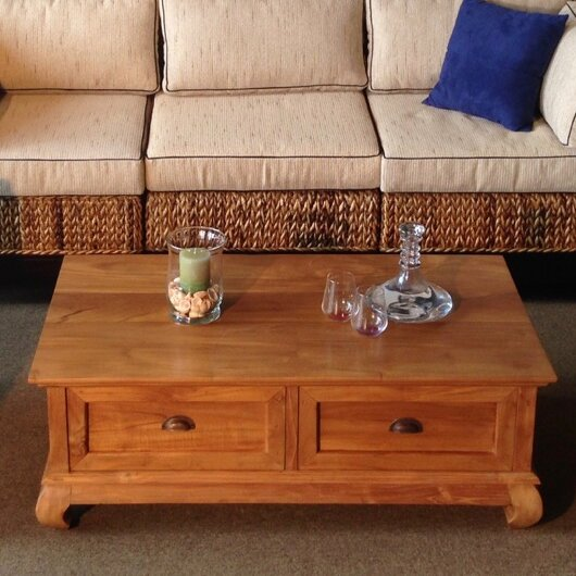 Aldo Teak Coffee Table by Rosecliff Heights