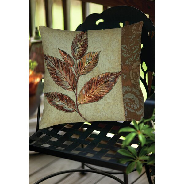 Golden Leaf 1 Indoor/Outdoor Throw Pillow by Manual Woodworkers & Weavers