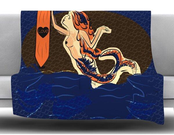 Mermaid by Famenxt Fleece Blanket by East Urban Home
