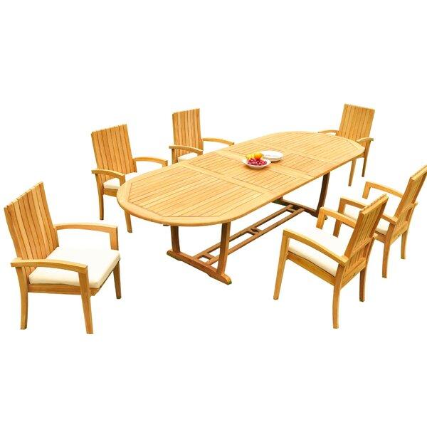Willey 7 Piece Teak Dining Set Bayou Breeze W001959897