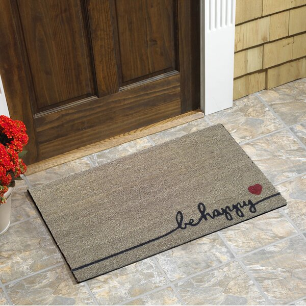 Gammage Be Happy Vinyl Backed Coir Doormat by Wrought Studio