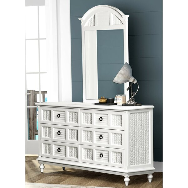 Key West 6 Drawer Double Dresser with Mirror by Bayou Breeze