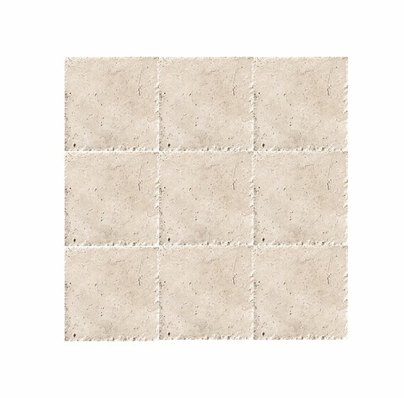 Chiseled 4 x 4 Travertine Field Tile in Ivory by Parvatile