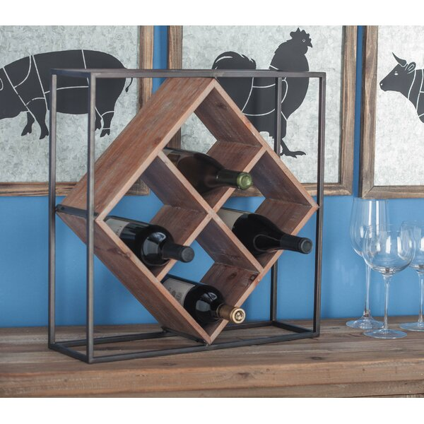 Villagomez Metal/Wood 4 Bottle Tabletop Wine Rack by Union Rustic