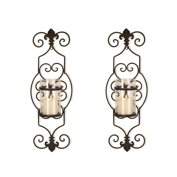 Cottage Iron Wall Sconce Candle Holder (Set of 2) by Fleur De Lis Living