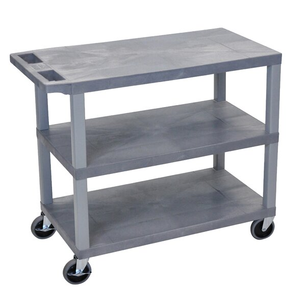 E Series Utility Cart with 3 Flat Shelves by Luxor