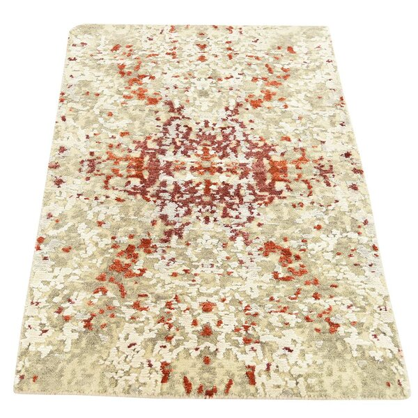 One-of-a-Kind Hedgepeth Hi-Lo Hand-Knotted Taupe Area Rug by Williston Forge